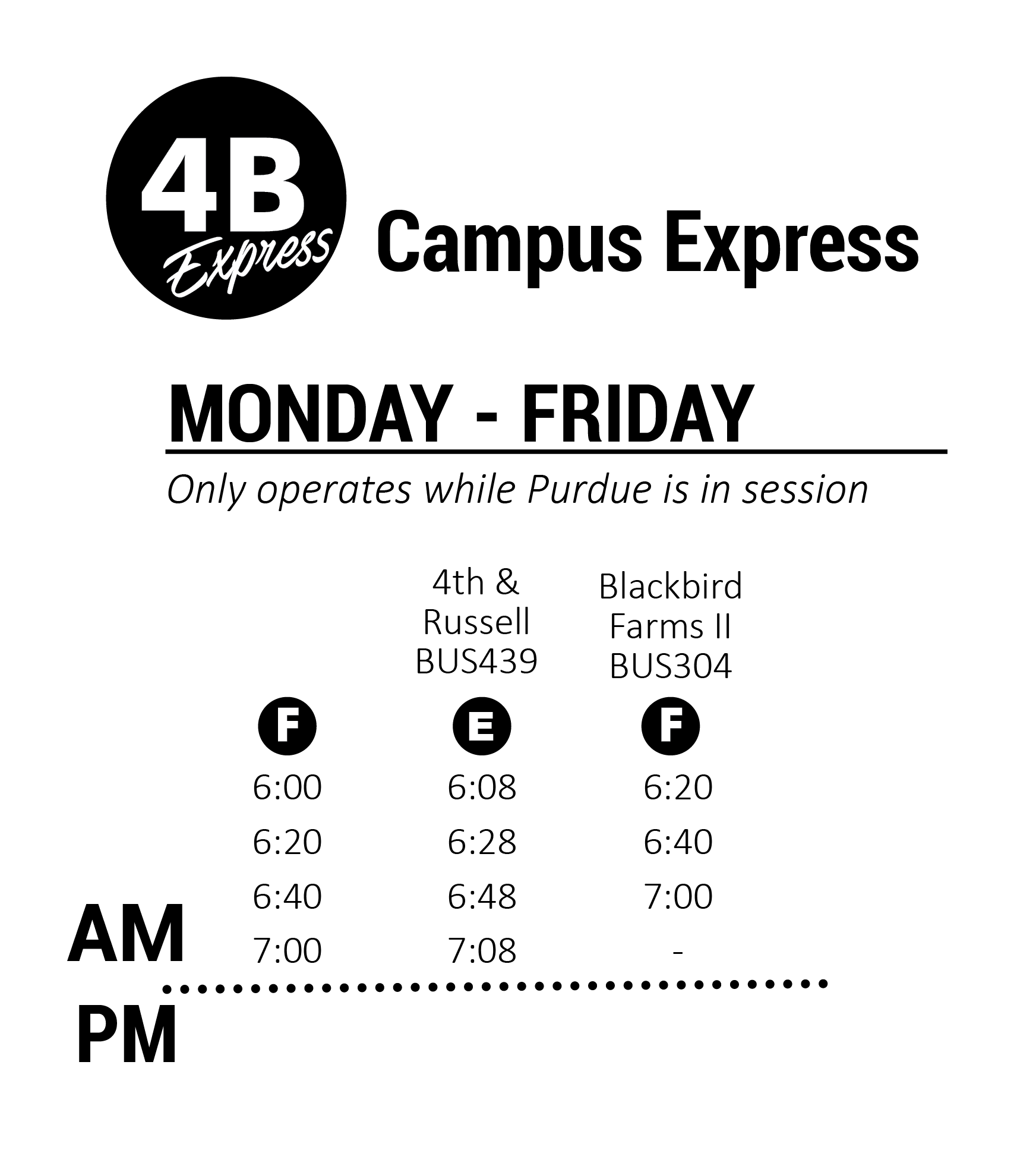 4BE Purdue West – Campus Express map